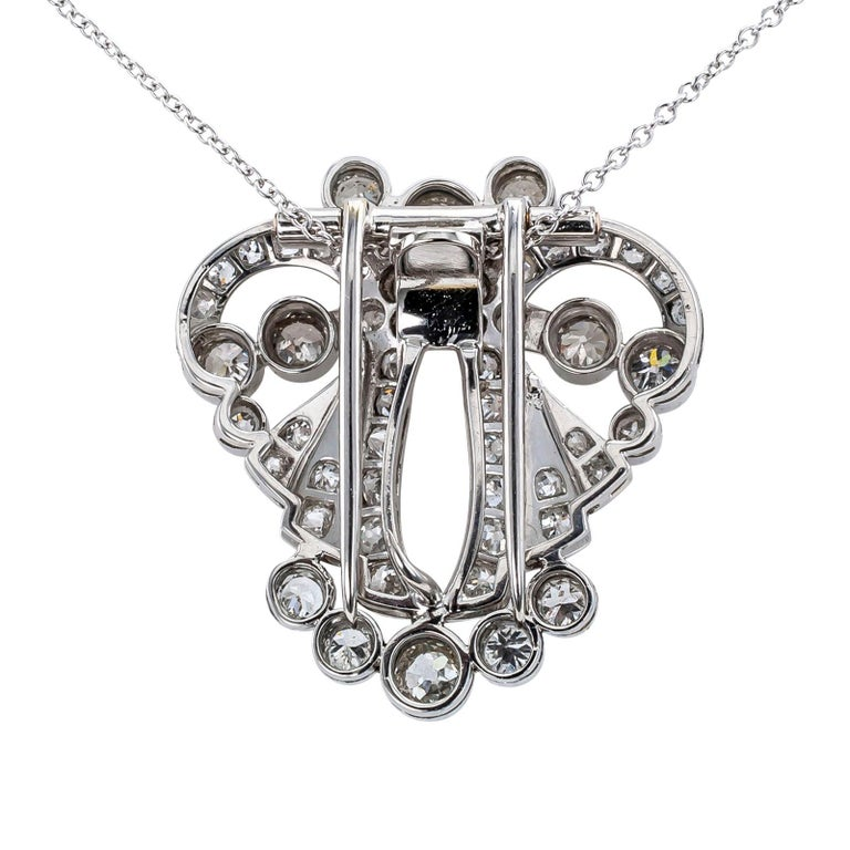 Art Deco Diamond Platinum White Gold Clip Brooch Pendant In Good Condition For Sale In Los Angeles, CA