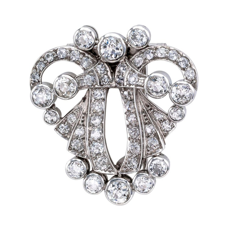 Women's Art Deco Diamond Platinum White Gold Clip Brooch Pendant For Sale