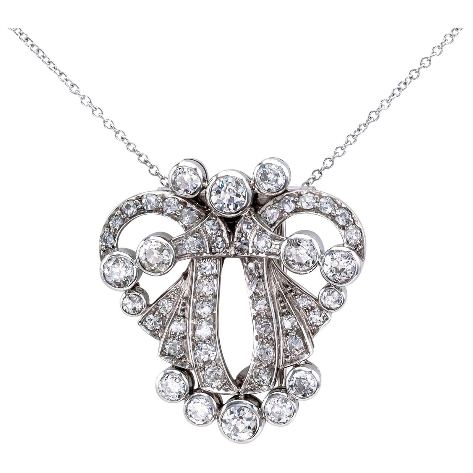 Art Deco Diamond Platinum White Gold Clip Brooch Pendant