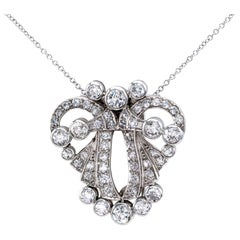 Art Deco Diamond Platinum White Gold Clip Brooch Pendant
