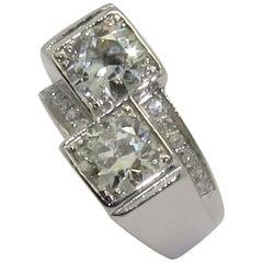 "Art Deco Diamond Platinum ""You and Me"" Ring"