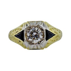 Art Deco Diamond Ring 14k Yellow / White Gold Hand Engraved 0.70ct Diamond