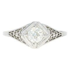 Art Deco Diamond Ring, 18 Karat White Gold Vintage GIA European .58 Carat