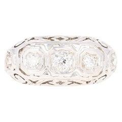 Art Deco Diamond Ring - 18k White Gold Vintage Filigree European .60ctw