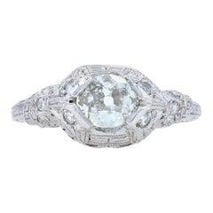 Art Deco Diamond Ring, 900 Platinum Old Mine Cut 5 3/4 Genuine .71 Carat