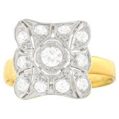 Art Deco Diamond Ring Platinum over Gold