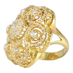 Art Deco Diamond Ring set in 18 Karat Yellow Gold