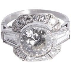 Art Deco Diamond Ring with 2.08 Carat Round Center Diamond