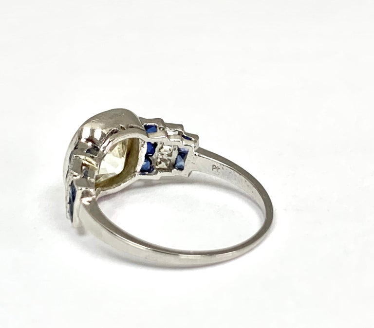 Old European Cut Art Deco Diamond Ring with 2.57 Carat Old Euro Cut Center, circa 1920s