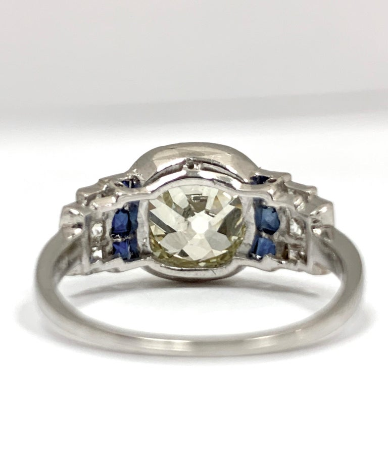 Art Deco Diamond Ring with 2.57 Carat Old Euro Cut Center, circa 1920s In Good Condition In New York, NY
