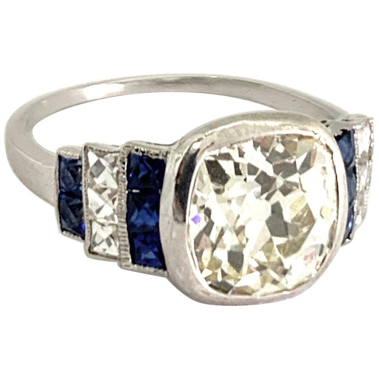 Art Deco Diamond Ring with 2.57 Carat Old Euro Cut Center, circa 1920s