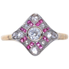 Art Deco Diamond Ruby 18 Karat Gold Ring