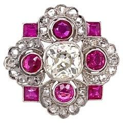 Art Deco Diamond Ruby 18 Karat Yellow Gold Ring