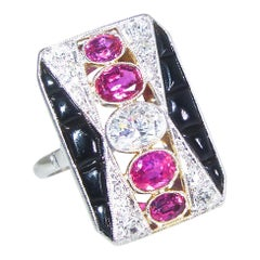 Art Deco Diamond, Ruby and Onyx Ring, circa 1920