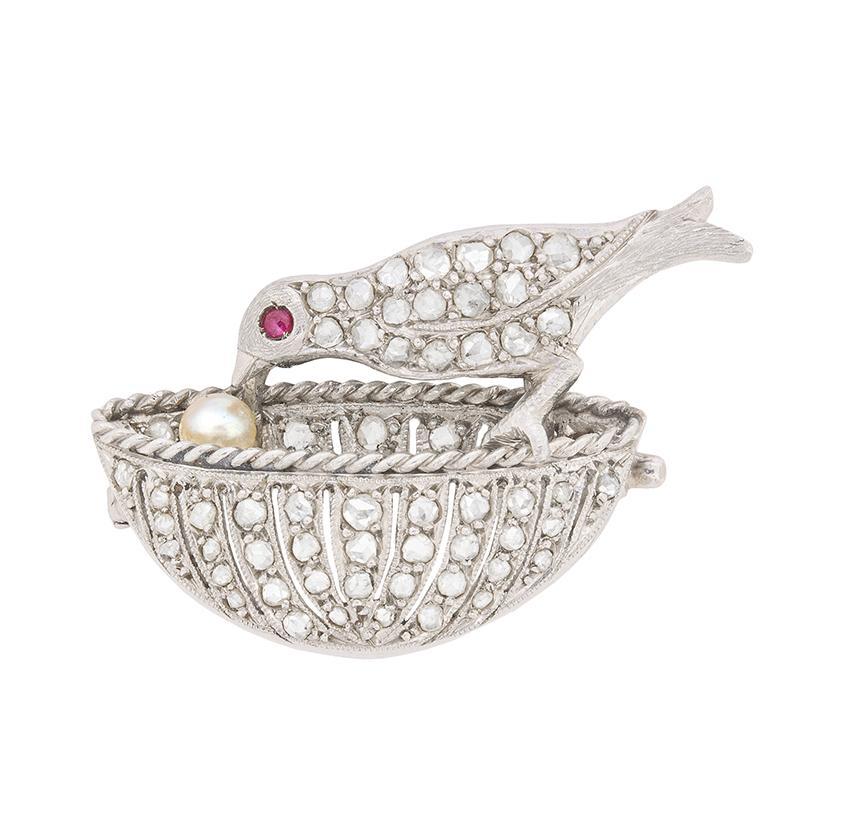 Art Deco Diamond, Ruby and Pearl Bird Brooch, circa 1920s