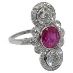 Art Deco Diamond Ruby Birman Natural Platinum Ring