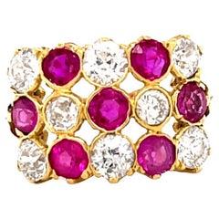 Art Deco Diamond Ruby Checkerboard Ring