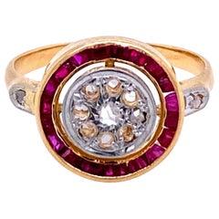 Art Deco Diamond Ruby Cluster Ring