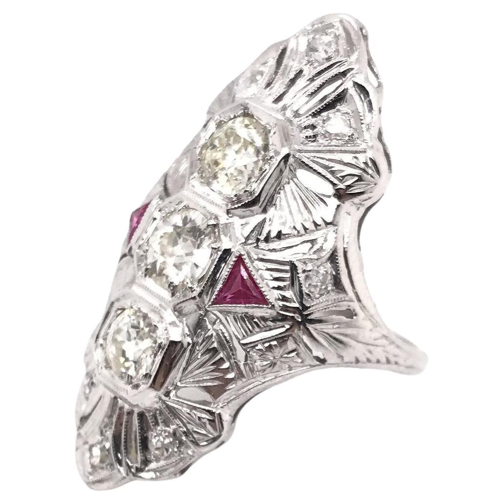 Art Deco Diamond & Ruby Cocktail Ring