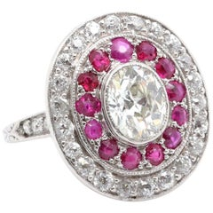 Art Deco Diamond Ruby Double Halo Cluster Platinum Ring