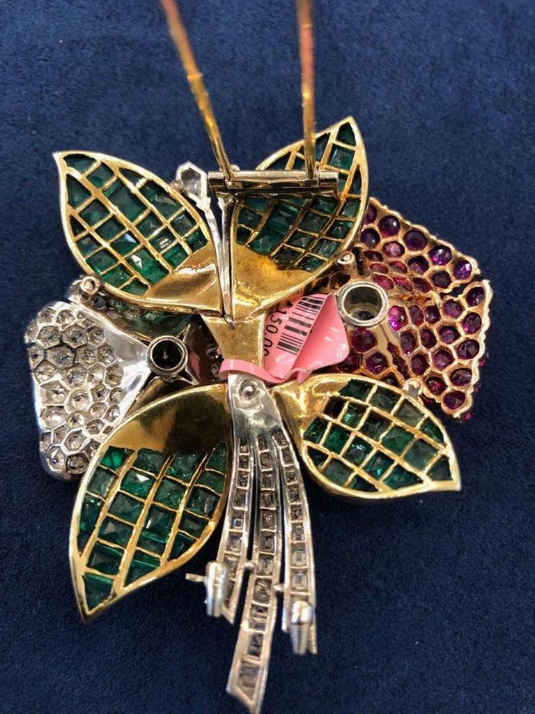 Mixed Cut Art Deco Diamond, Ruby, Emerald Flower Brooch For Sale