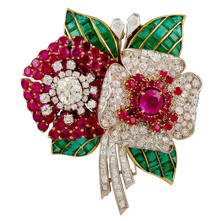 Art Deco Diamond, Ruby, Emerald Flower Brooch For Sale