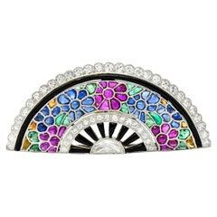 Art Deco Diamond Ruby Emerald Sapphire Onyx Platinum Tutti Frutti Brooch
