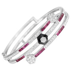 Art Deco Style Diamond Ruby Onyx Bangle