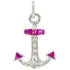 Art Deco Diamond Ruby Platinum Anchor Charm