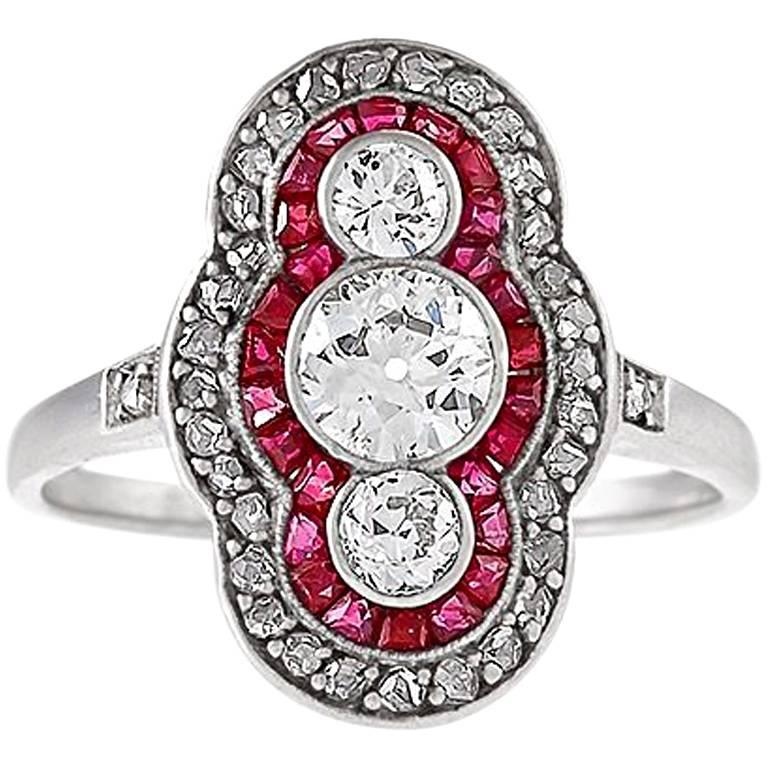 Art Deco Diamond Ruby Platinum and Gold Plaque Ring
