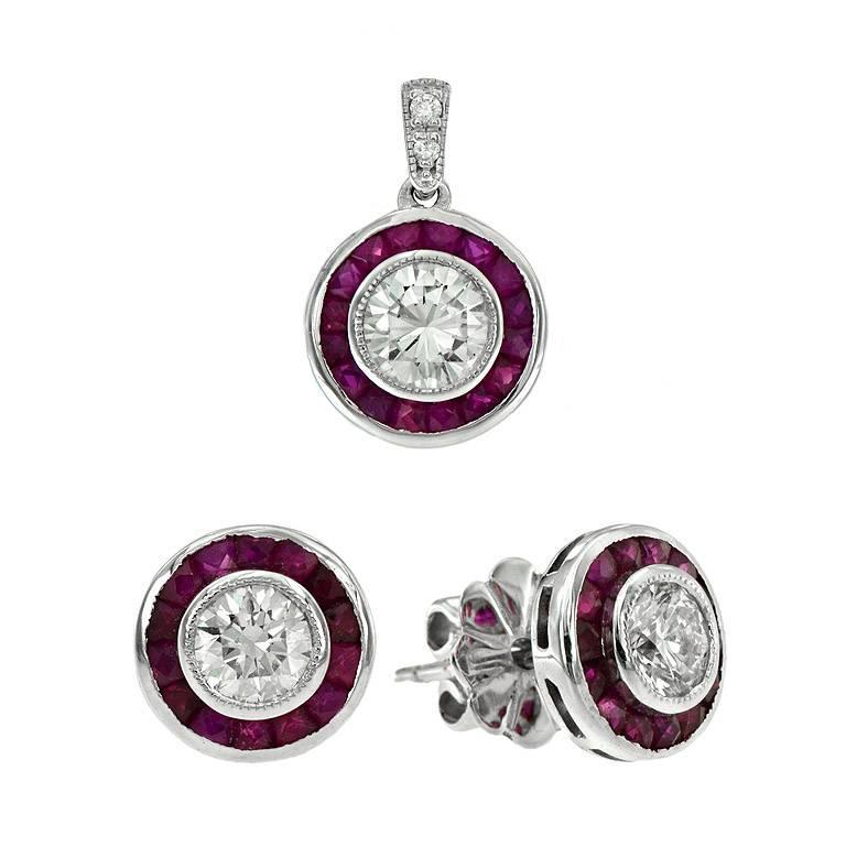 Diamond Ruby Set Pendant and Stud Earrings