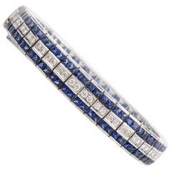 Art Deco Diamond Sapphire 18 Karat Gold Tennis Link Bracelet