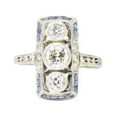 Art Deco Diamond Sapphire 18 Karat White Gold Alternative Engagement Ring