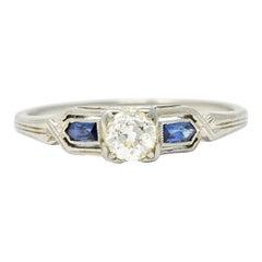 Art Deco Diamond Sapphire 18 Karat White Gold Engagement Ring