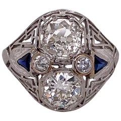 Art Deco Diamond Sapphire 18 Karat White Gold Estate Cocktail Ring