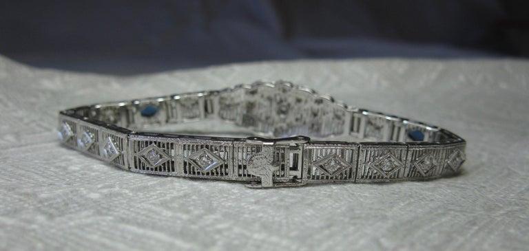 Art Deco Diamond Sapphire Bracelet Filigree White Gold Gorgeous For Sale 6