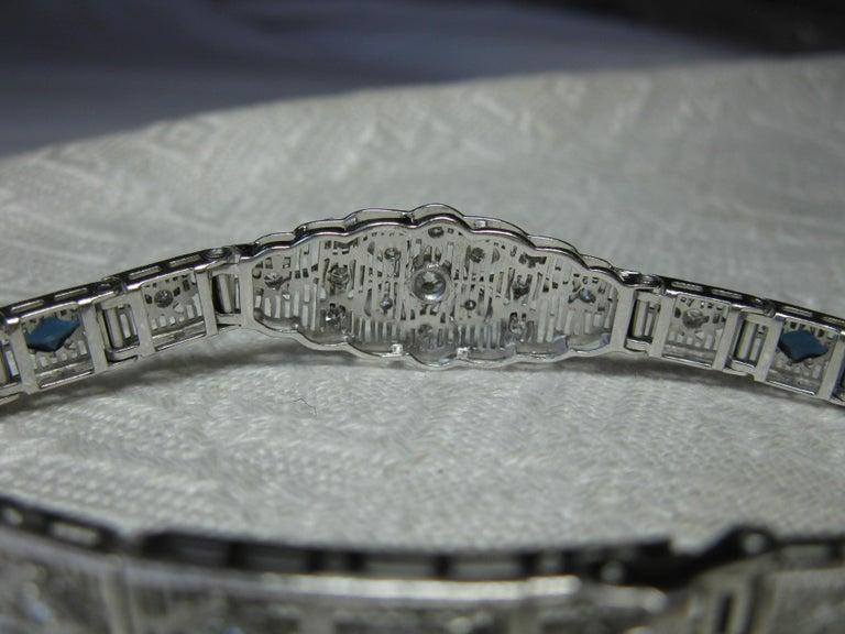 Art Deco Diamond Sapphire Bracelet Filigree White Gold Gorgeous For Sale 7