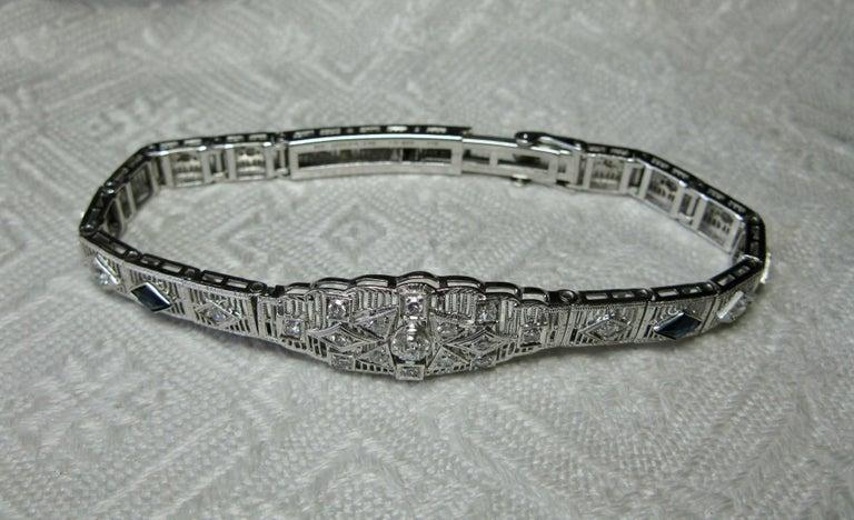 Art Deco Diamond Sapphire Bracelet Filigree White Gold Gorgeous For Sale 9