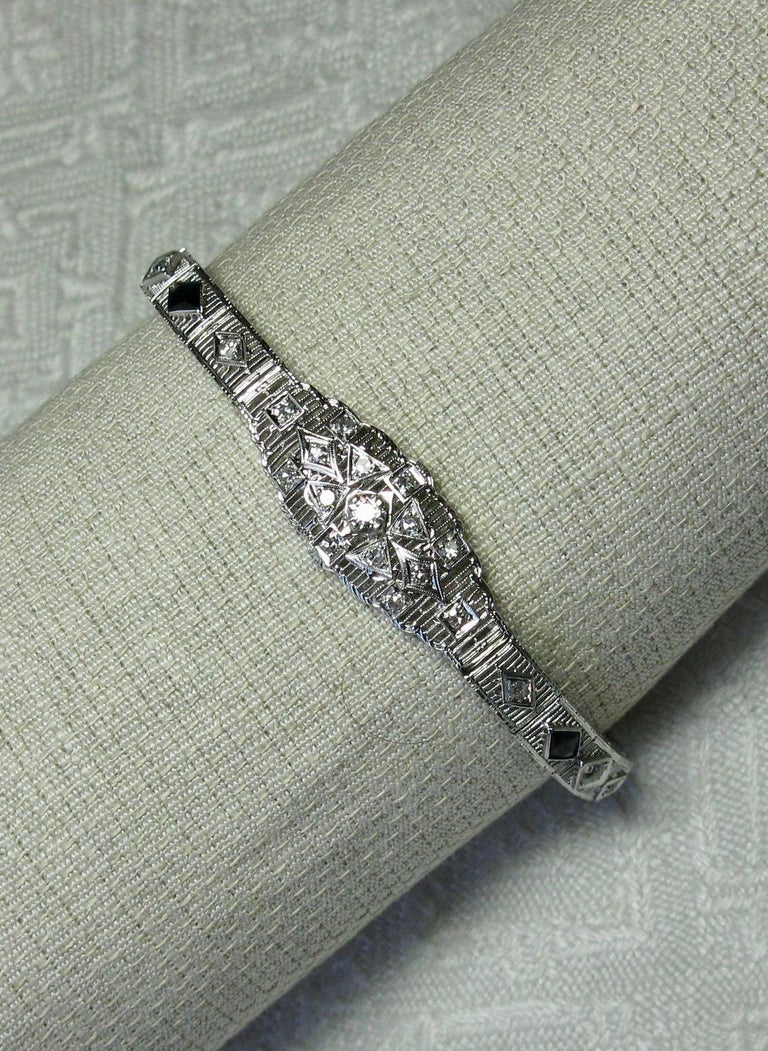 Art Deco Diamond Sapphire Bracelet Filigree White Gold Gorgeous In Good Condition For Sale In New York, NY
