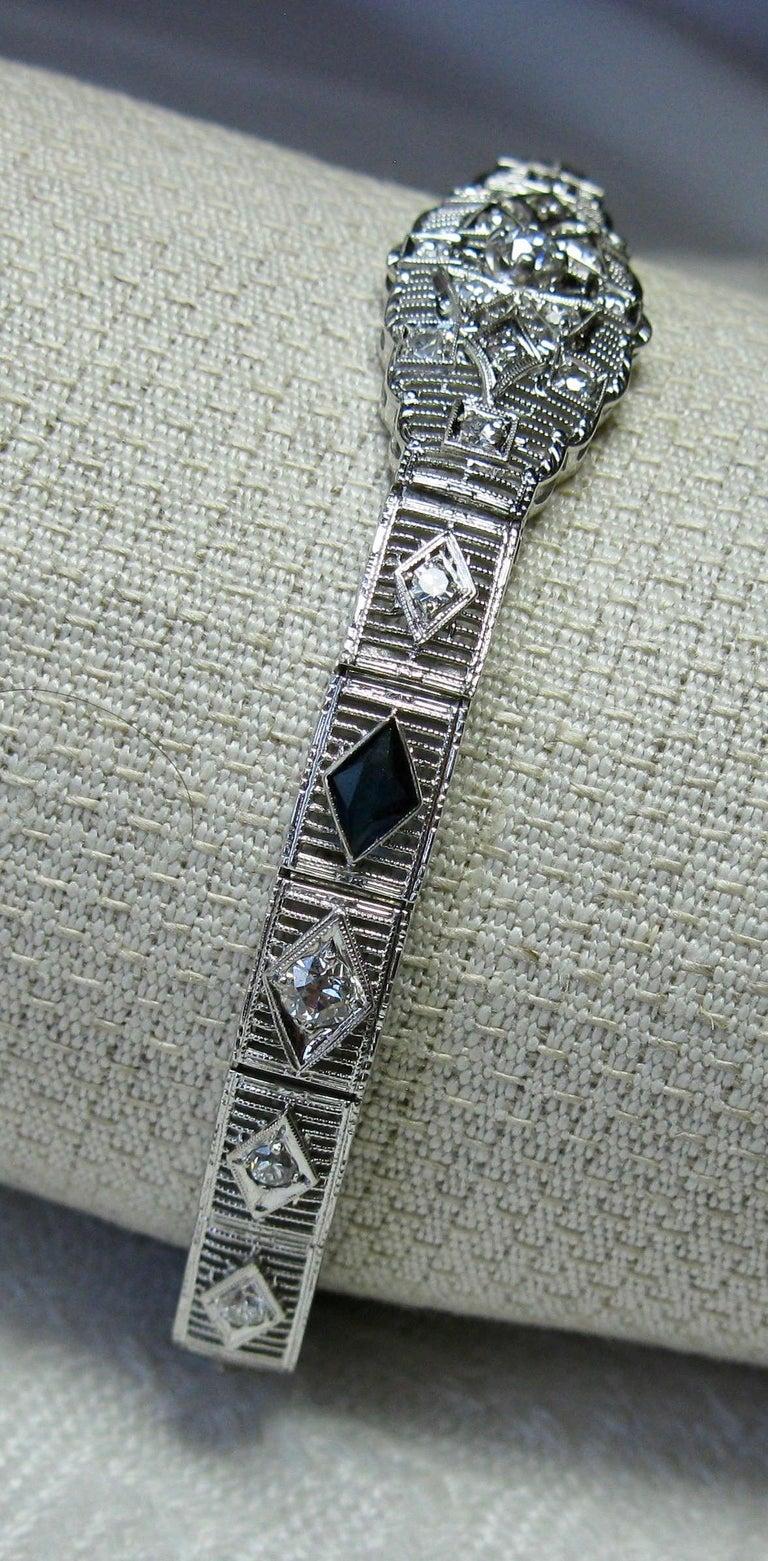 Women's Art Deco Diamond Sapphire Bracelet Filigree White Gold Gorgeous For Sale