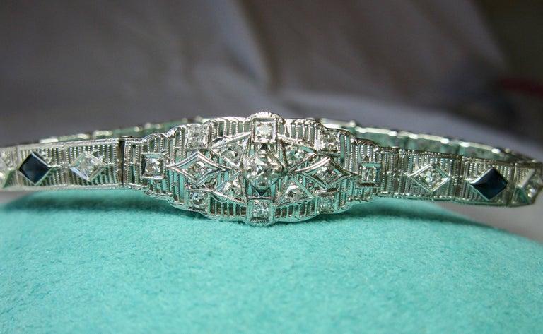 Art Deco Diamond Sapphire Bracelet Filigree White Gold Gorgeous For Sale 1