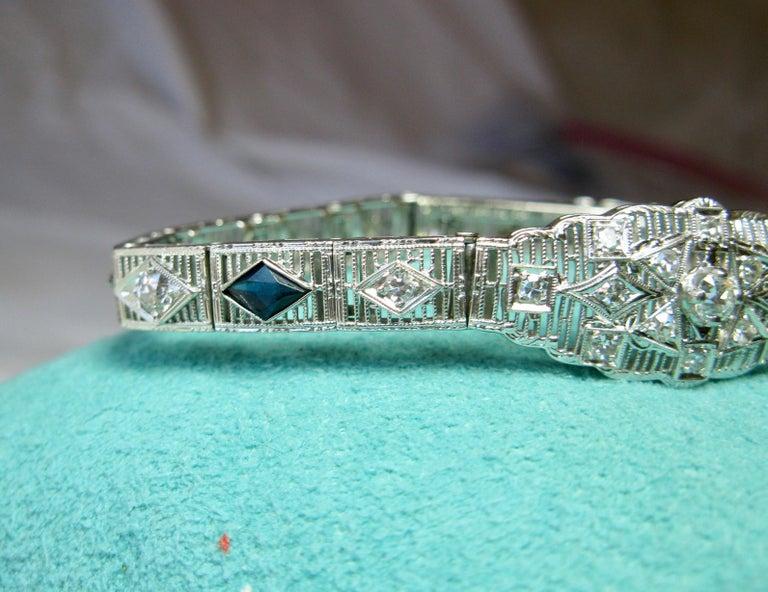 Art Deco Diamond Sapphire Bracelet Filigree White Gold Gorgeous For Sale 2
