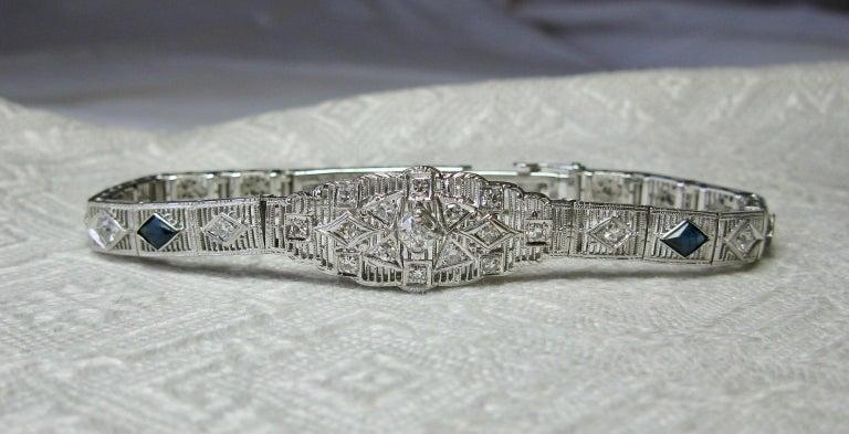 Art Deco Diamond Sapphire Bracelet Filigree White Gold Gorgeous For Sale 3