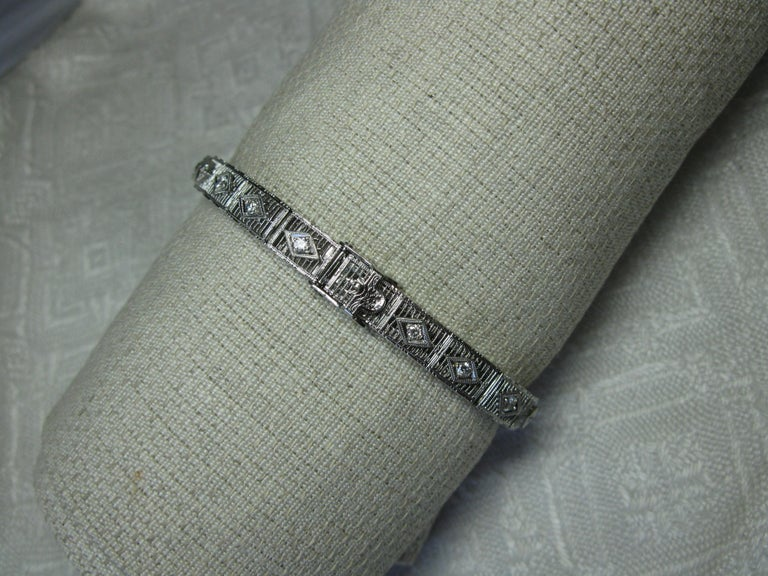 Art Deco Diamond Sapphire Bracelet Filigree White Gold Gorgeous For Sale 4