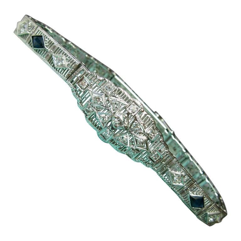 Art Deco Diamond Sapphire Bracelet Filigree White Gold Gorgeous For Sale