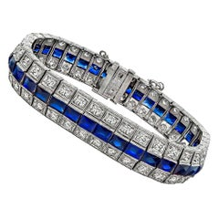 Art Deco Diamond Sapphire Bracelet