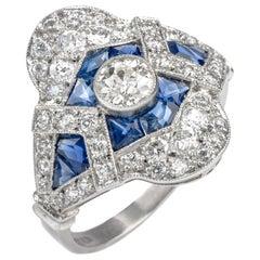 Art Deco Diamond Sapphire Cocktail Engagement Ring