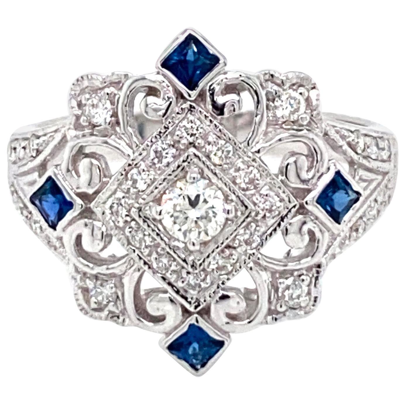 Art Deco Style Diamond Sapphire Cocktail Ring