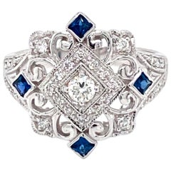 Art Deco Style Diamond Sapphire Cocktail Ring