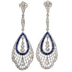 Art Deco Diamond Sapphire Dangle Drop Platinum Earrings